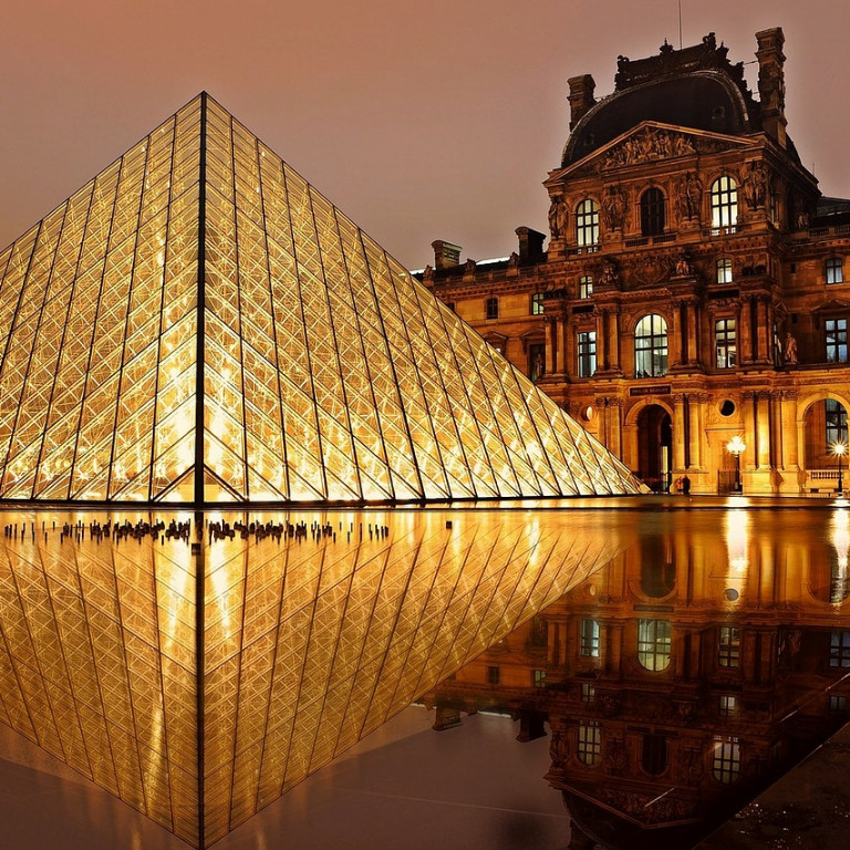 The front of the Louvre