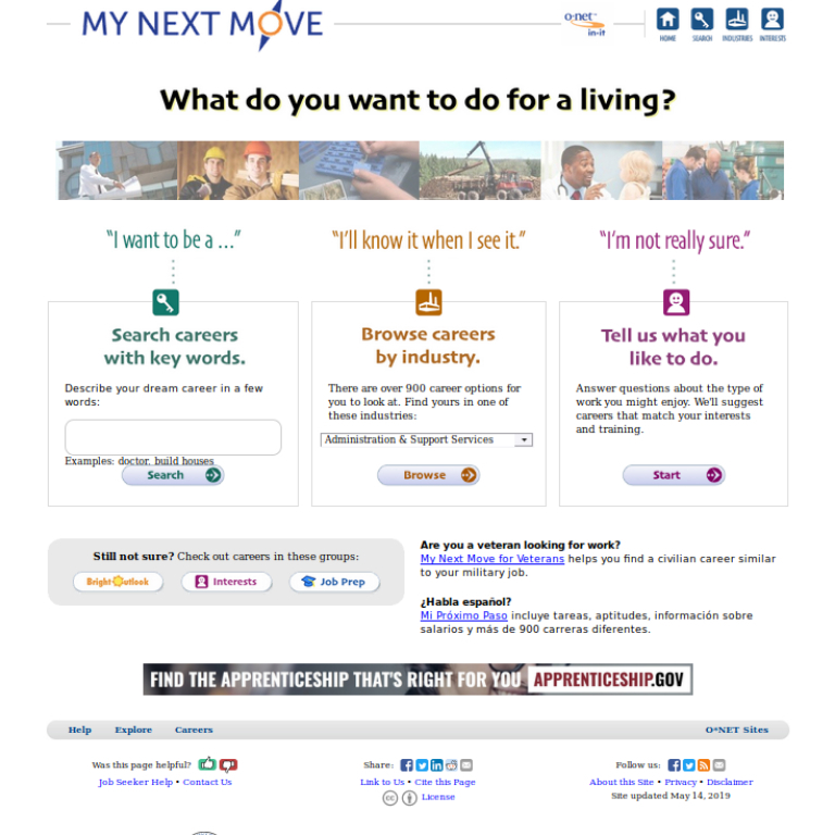 A screenshot of the My Next Move website