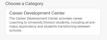 "Screenshot of appointment category buttons. Click the ""Career Development Center"" option"