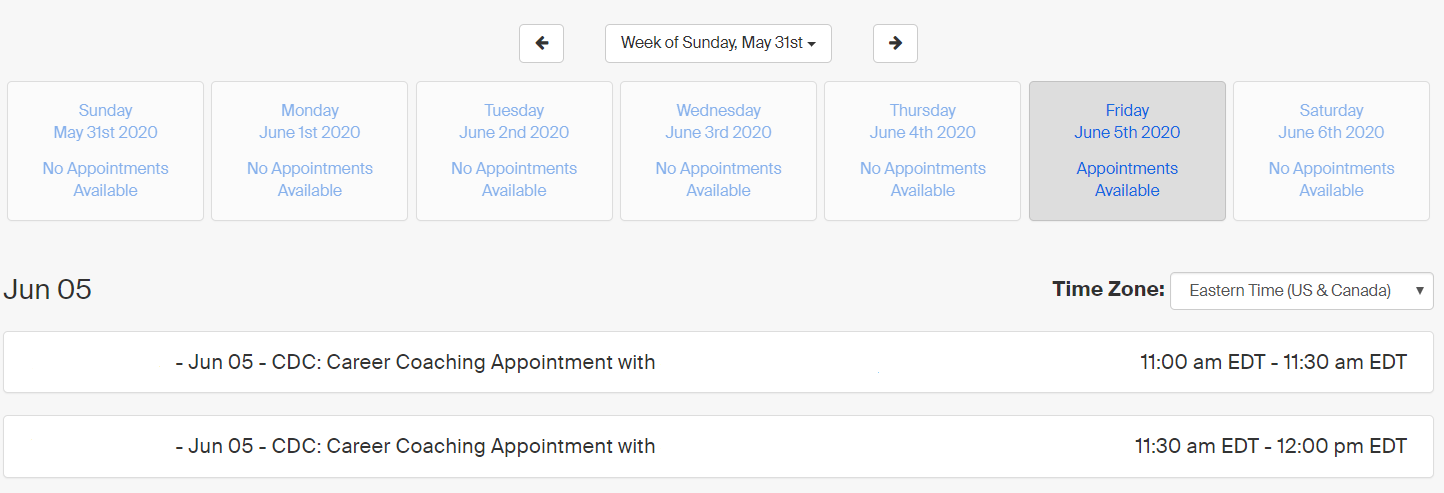 Screenshot of appointment day/time selection screen. Click the arrows toward the top to select the week, the buttons in the middle to select the day, and the list items below to select the time